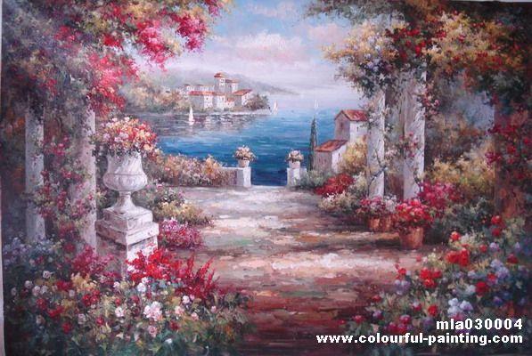 花田景油画, 丰收田园油画,适合 地中海风格以及 田园风格软装软装