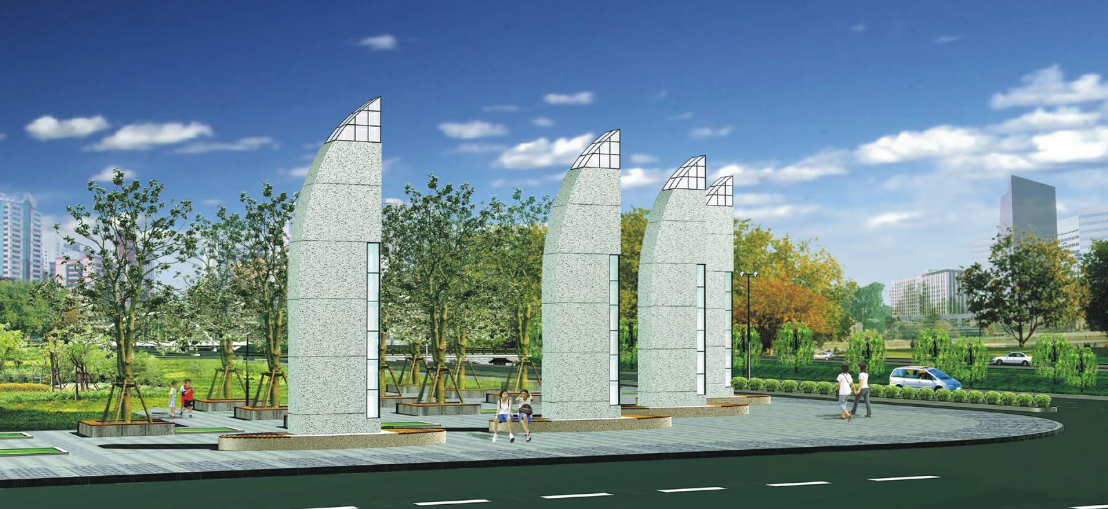 江南某市的街区路桥景观方案设计